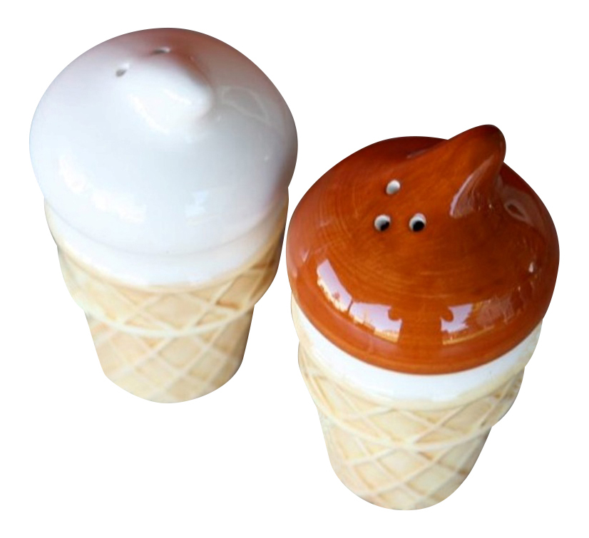 Chocolate Vanilla Ice Cream Cone Salt and Pepper Shakers