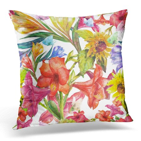 BSDHOME Colorful Abstract Floral Beautiful Spring Flowers with Butterflies Amaryllis Pillow Case Pillow Cover 18x18 inch - image 1 of 1