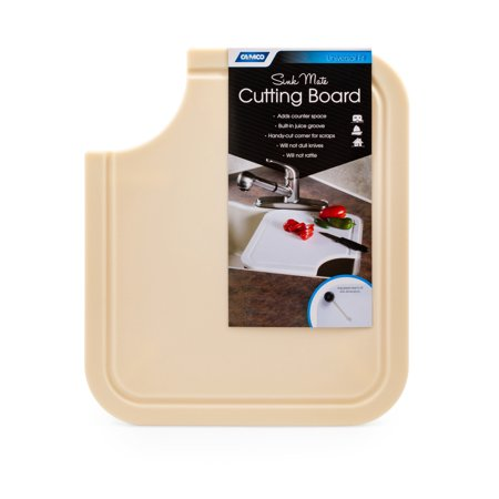 Rv Kitchen - Camco Sink Mate Cutting Board - Designed For RV, Camper, and Trailer Kitchen Sinks- Create More Counter Space, Cut Corner for Scrap Release, Sturdy Design- Almond (43859)