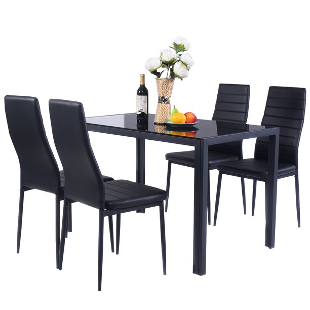 5 PCS Kitchen Dining Table Set Breakfast Furniture w/ Glass Top Padded Chair