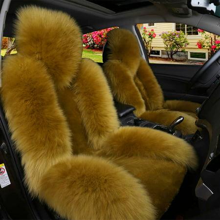 Meigar Single Wool Car Seat Cover Warm Sheepskin Fur Front Seat Cushion Mat Full Surround Pad Winter Warm (Sheepskin Car Seat)