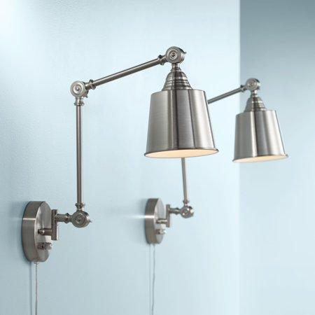 360 Lighting Modern Wall Lamps Plug In Set of 2 Brushed Nickel for Bedroom Living Room Reading ()