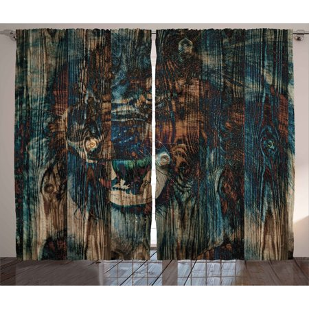 Safari Decor Curtains 2 Panels Set, Wild African Animal Big Cat Lion Carved on Grunge Wooden Board Boho Artwork, Window Drapes for Living Room Bedroom, 108W X 90L Inches, Teal Brown, by