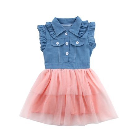 Denim Girls Dress - Toddler Kids Baby Girl Summer Clothes Denim Tulle Tutu Princess Party Dress Sundress 2-7Y