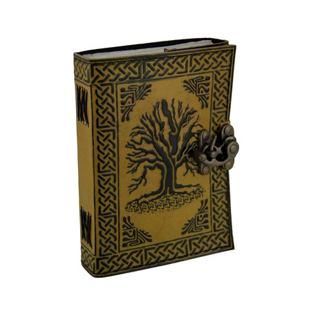 Tree of Life Two-Tone Brown Embossed Leather Bound Journal 5x7 in. Life Leather Journal