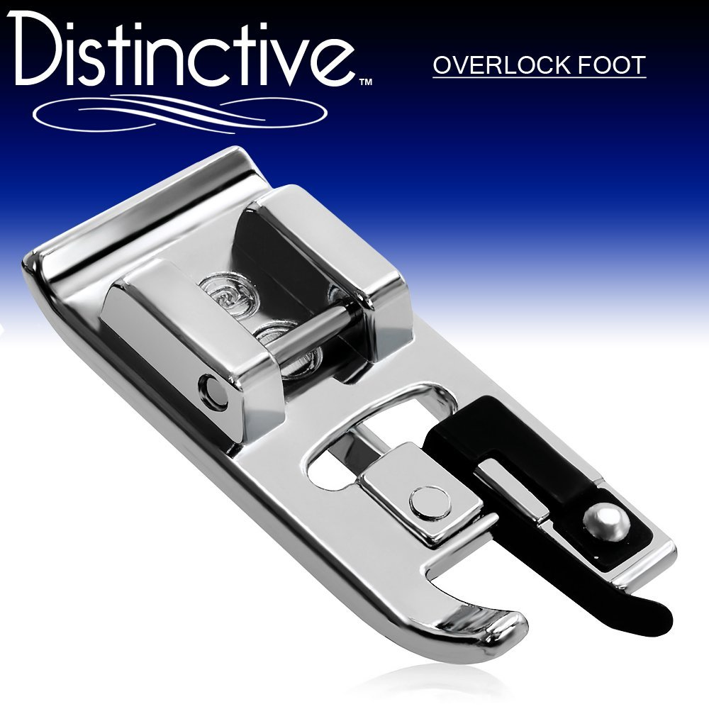 Distinctive Overlock Overcast Sewing Machine Presser Foot - Fits All Low Shank Snap-On Machines
