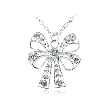Clear Crystal Rhinestone Ribbon Bow Tie Costume Fashionable Necklace Pendant