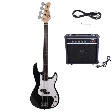 Glarry 45 inch Full Size Electric Bass Guitar Bundle with Amp, Connecting Wire and Spanner Tool, 3-Colors