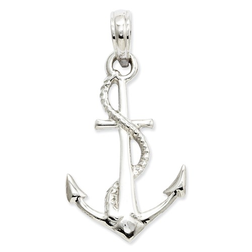 14k White Gold 3-D Anchor with Rope Pendant