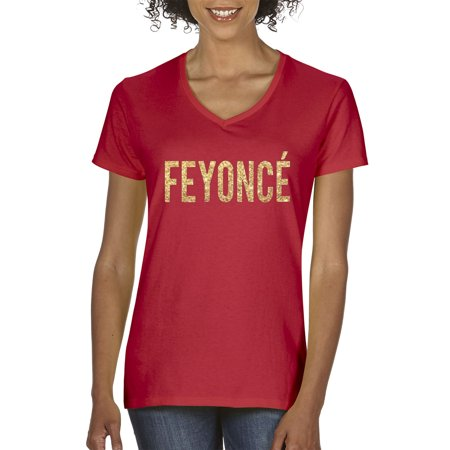 New Way 122 - Women's V-Neck T-Shirt Feyonce Gold Letters Black Shirt Gold Letters