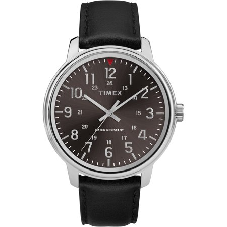 Men's Core 43mm Black/Silver-Tone Watch, Black Leather Strap