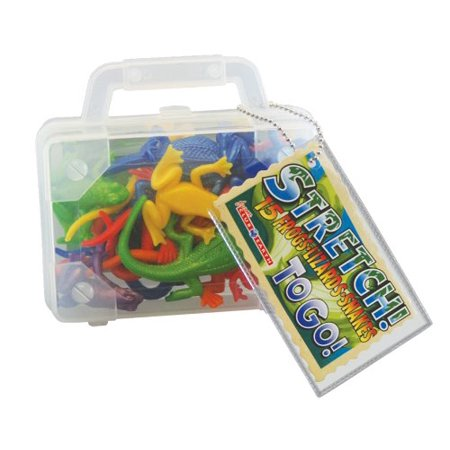 Stretchy Reptile Toy - Includes 15 Frogs, Lizards And Snakes In On-The-Go Suitcase - Wooden Snake Toy