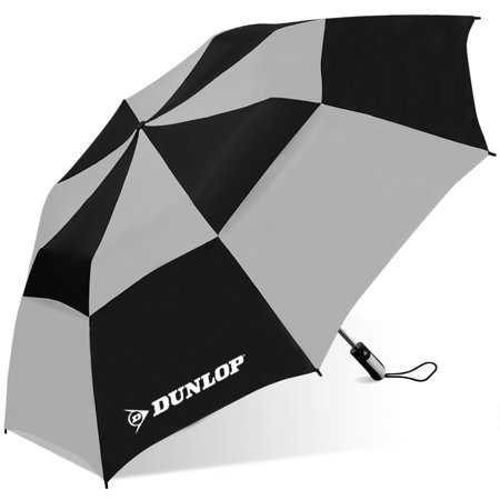 56 folding golf umbrella, with double canopy windproof frame design, rubber spray handle, and mesh carrying case ()