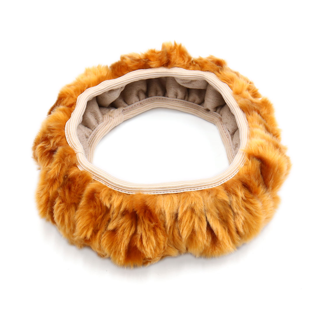 Universal Elastic Plush Steering Wheel Cover Protector Brown for Auto Car