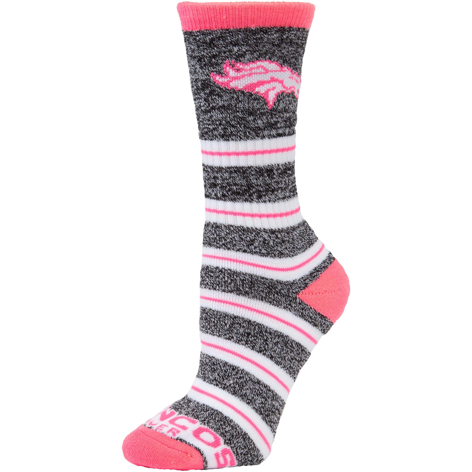 Denver Broncos For Bare Feet Women's Melange Stripe Socks - M