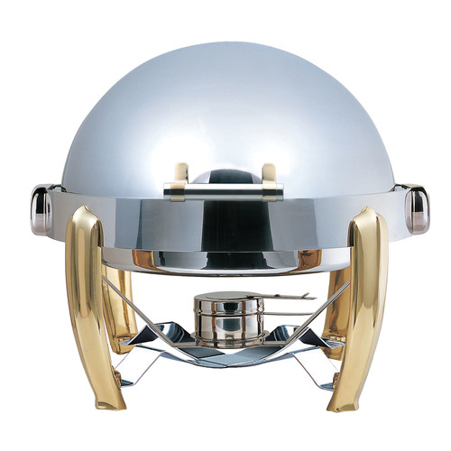 SMART Buffet Ware Medium Odin Round Roll Top Chafing Dish with Brass Plated Legs, Heater and Spoon Holder