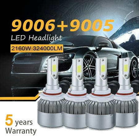 9005 9006 4PCS LED Total 2160W 324000LM Combo Headlight Kit Bulbs 6000K