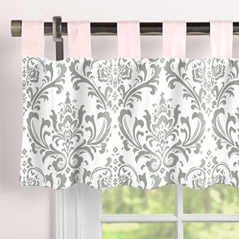 Carousel Designs Pink and Gray Traditions Window Valance Tab-Top by Carousel Designs