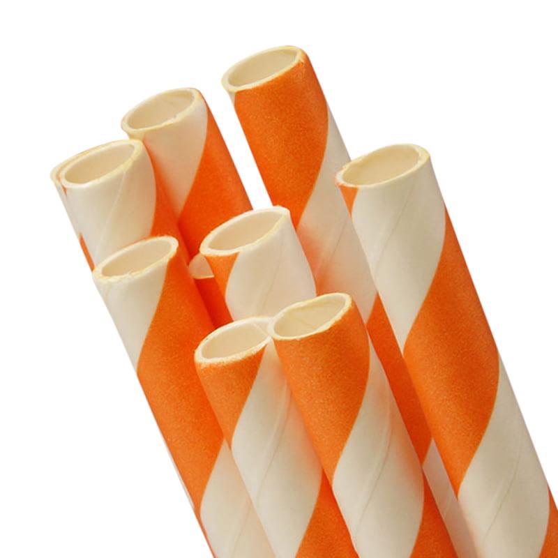 "10 ct. Orange Striped Paper Straw   Quantity: 10   Length - 7 3/4""   Diameter - 1/4"" by Paper Mart"