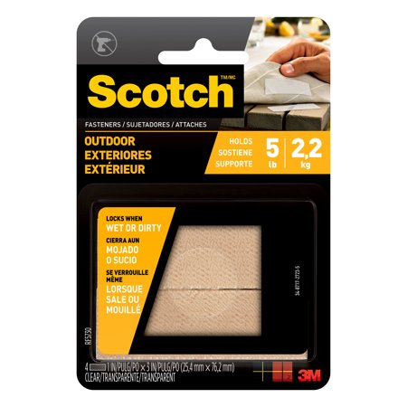 Scotch Outdoor Fasteners 1 in x 3 in Clear 2 Sets Pack