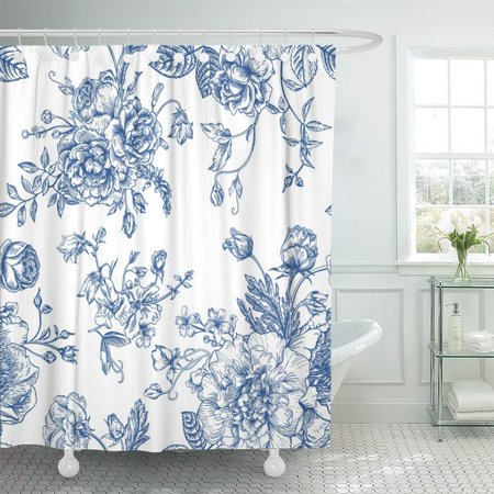 PKNMT Floral Vintage with Bouquet of Blue Flowers on White Peonies Roses Sweet Peas Bell Shower Curtain Bath Curtain 66x72
