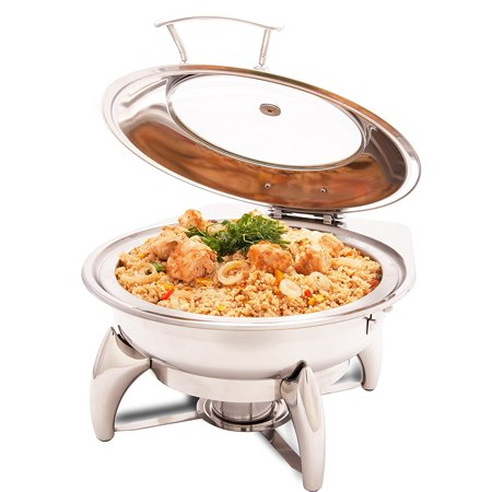 ProstoWare PWI-522 Glass Top Round Chafing Dish 5 Qt with Stand, Stainless Steel Chafer for Catering