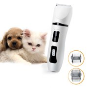 Dog Hair Fur Trimmer Grooming Clipper Cutter Remover Shaver Razor Kit Electric Cordless Low Noise Rechargeable for Small Medium Large Animal Pet Cat with Replacement Blades
