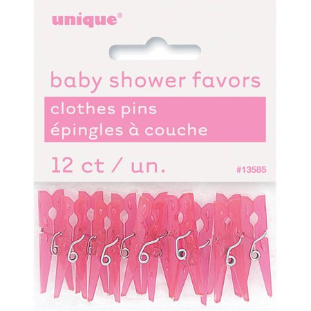 Mini Plastic Clothespin Baby Shower Favor Charms, 1.25 in, Pink, 12ct (Baby Rattle Favors Baby Shower)