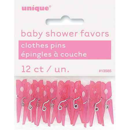 Mini Plastic Clothespin Baby Shower Favor Charms, 1.25 in, Pink, 12ct](Baby Shower Cigars Favors)