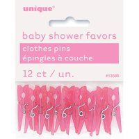 Mini Plastic Clothespin Baby Shower Favor Charms, 1.25 in, Pink, 12ct