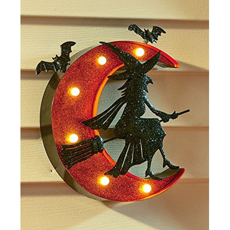 Halloween Glittery Witch Marquee Sign with on/off Switch Battery Operated - Flying Witch on Broomstick with Crescent Moon