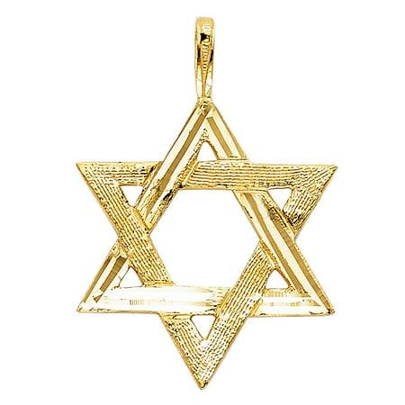 Star of David Charm 14k Yellow Gold Medallion Religious 25mm x 22mm Diamond Cut Pendant