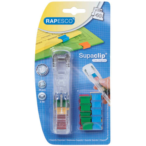 Rapesco Supaclip 40 See-Through Dispenser and 25 Multi-Colored Clips