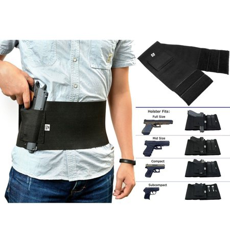 - GVN Adjustable Tactical Elastic Belly Band Waist Pistol Gun Holster 2 Magazine Pouches - Abdominal Band Pistol Holster L