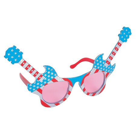 Fun Express - Patriotic Guitar Sunglasses 1 pc for Fourth of July - Apparel Accessories - Eyewear - Novelty Glasses - Fourth of July - 1 Piece - Guitar Sunglasses