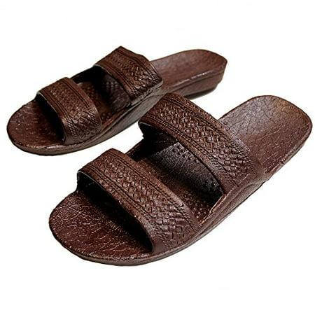 Brown Rubber Slide on Sandal Slippers Double Strap, Dark Brown Hawaii Sandal, Size 8 = Women size 8 / men size 6