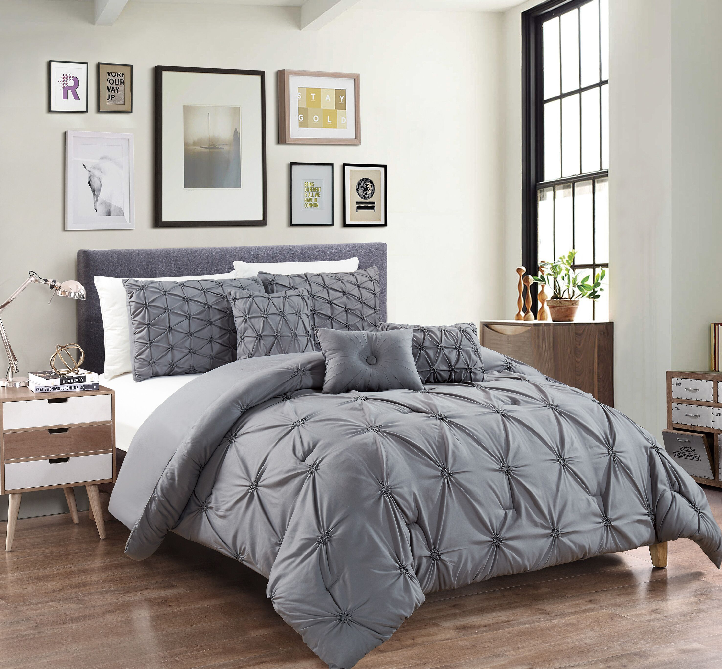 Empire Home Davina 6-piece Comforter Set New Arrival Sale - Gray - Queen SIze