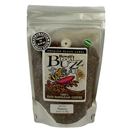 Hawaii S Local Buzz Premium Black Label Peaberry Light Roast 7 Ounce