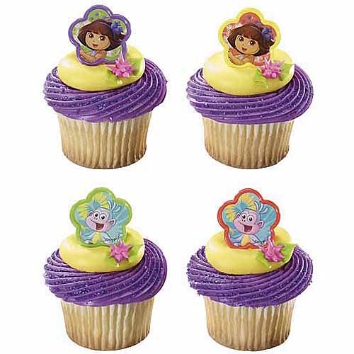 Dora And Boots Cupcake Rings, 24-Pack