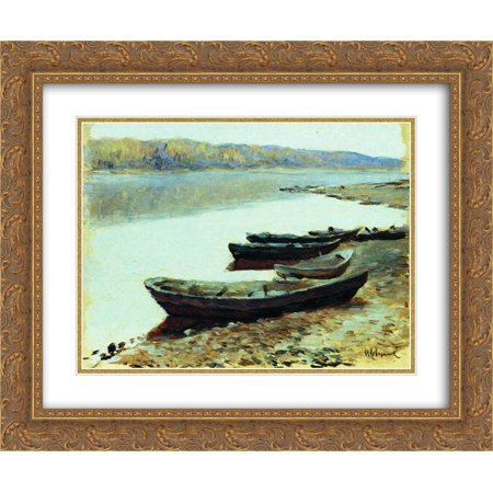 Isaac Levitan 2x Matted 24x20 Gold Ornate Framed Art Print 'Landscape on Volga. Boats by the Riverbank.' - Love Boat Isaac