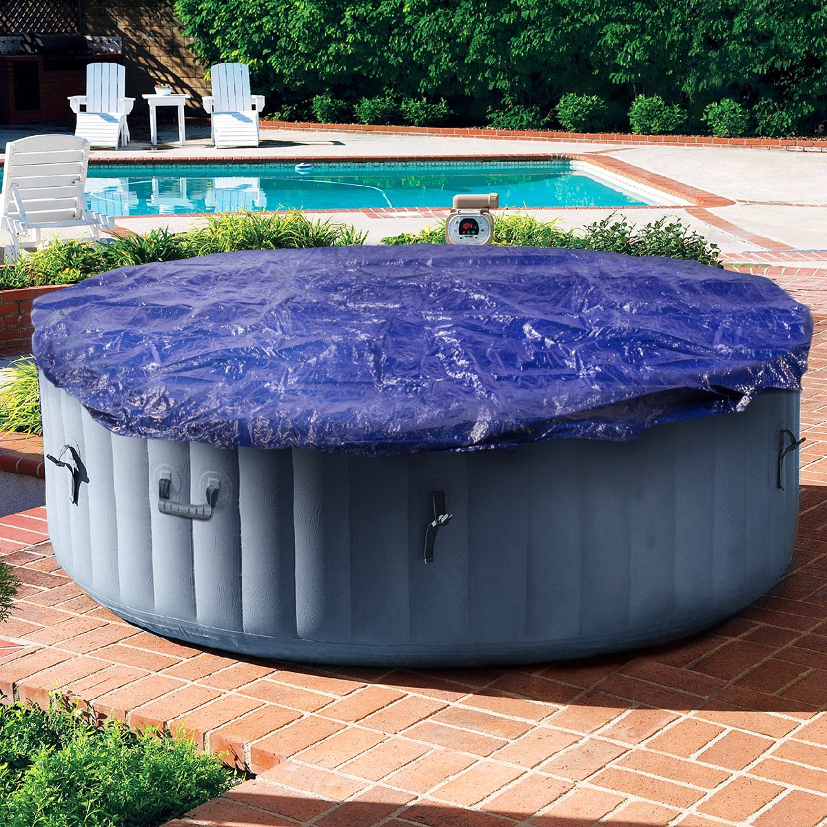24FT Pool Winter Cover Round Above Ground Debris Vinyl Cover Tarp