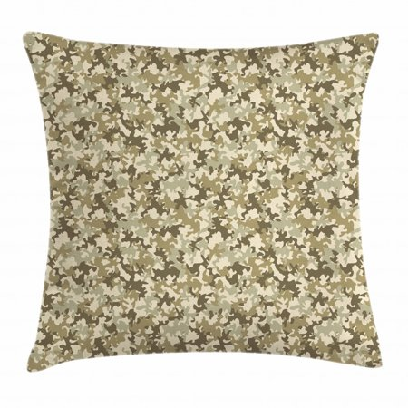 Camouflage Throw Pillow Cushion Cover, Faded Color Soldier Uniform Pattern Classic Camo Grunge Vintage Fashion, Decorative Square Accent Pillow Case, 16 X 16 Inches, Khaki Olive Green, by Ambesonne Soldier Throw Pillow