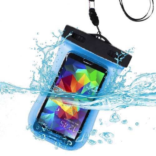 Premium Waterproof Sports Swimming Waterproof Water Resistant Armband Case Bag Pouch for Alcatel OneTouch Flash 2 (with Lanyard) (Light Blue) + MYNETDEALS Mini Touch Screen Stylus