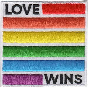 """Love Wins - LGBTQ Artwork Embroidered Iron On Patches, 3"""" x 3"""" Sew On Patch"""