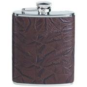 Simran HF-6-ILG Ajmer 6 oz.  Brown Fossil Leaf Pattern Italian Leather Stainless Steel Flask