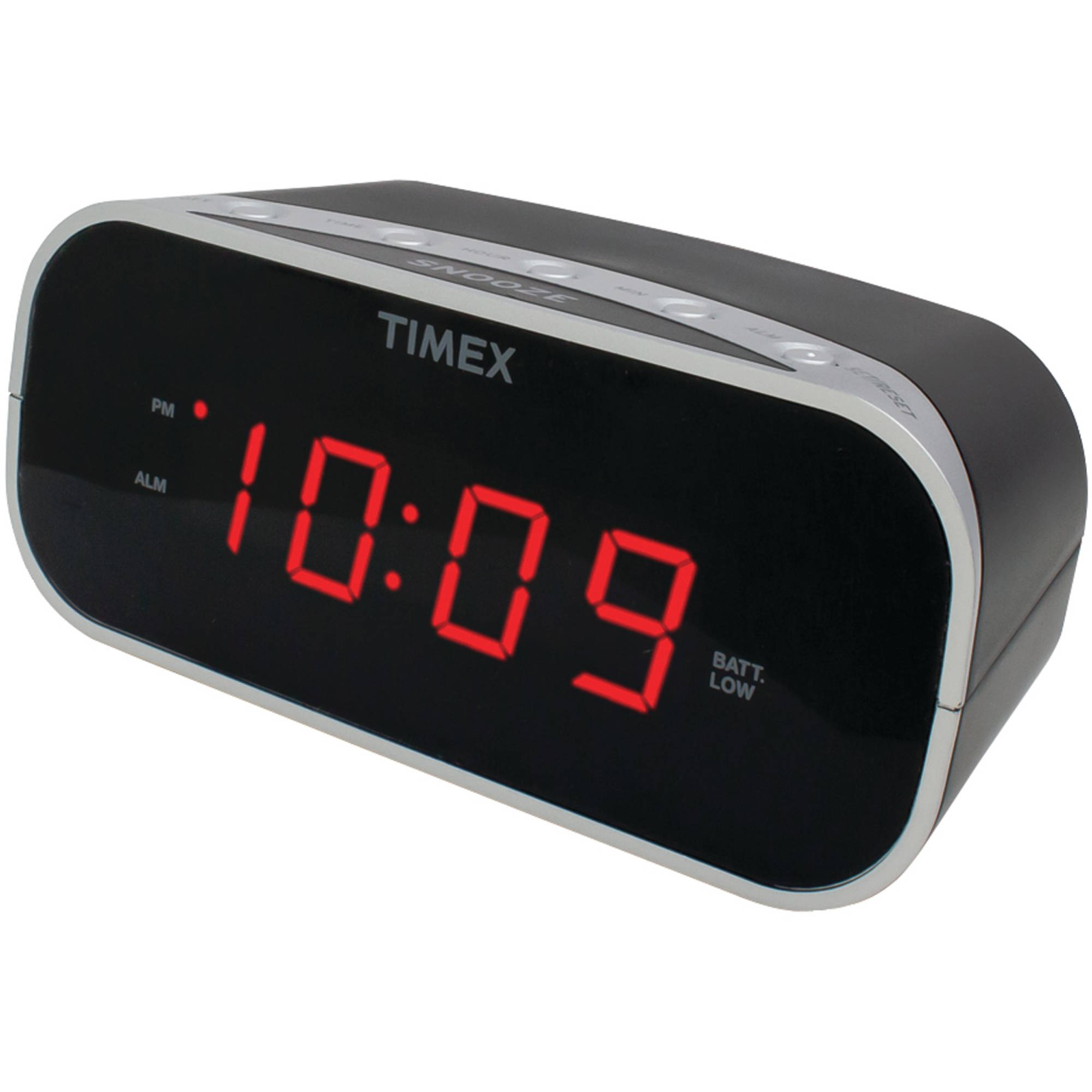 "Timex T121B Alarm Clock with 0.7"" Red Display, Black"