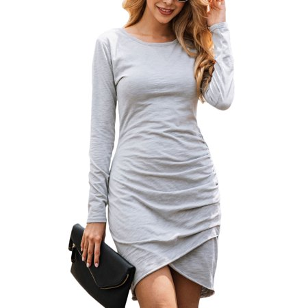 Autumn Winter Long Sleeve Tulip Bodycon Dress for Women Casual Ruched Slim Fit Party Office Dress Ladies Stylish Wrap Irregular Hem Shirt Mini Dress