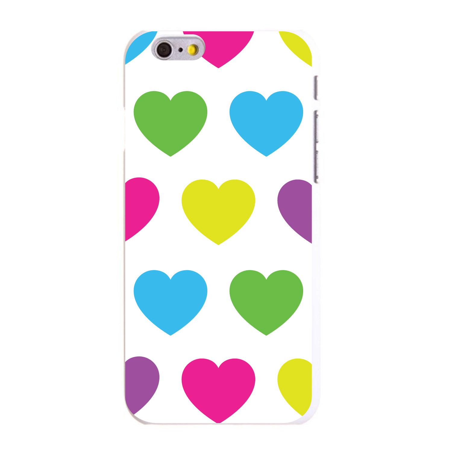 "CUSTOM White Hard Plastic Snap-On Case for Apple iPhone 6 PLUS / 6S PLUS (5.5"" Screen) - White Multi Color Hearts"
