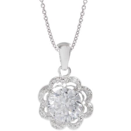 Pori Jewelers Genuine CZ 18kt White Gold-Plated Sterling Silver Round-Cut Halo Flower Pendant Necklace, 18""