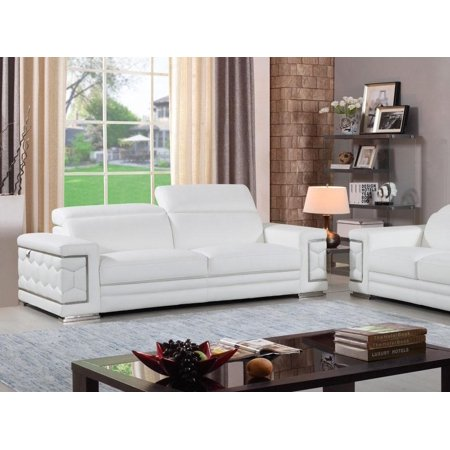 Global Furniture 692 Contemporary White Genuine Italian Leather Sofa